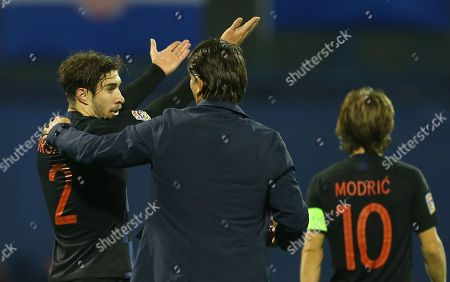 Sime Vrsaljko of Croatia with Zlatko Dalic manager of Croatia after the match