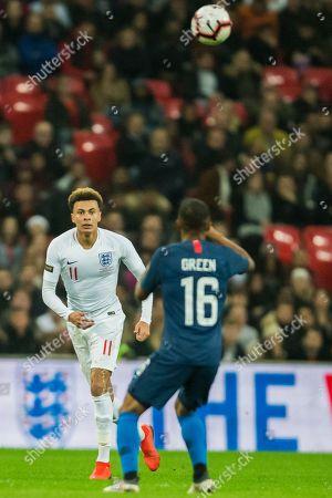 Dele Alli (England) & Julian Green (USA) during the international Friendly match between England and USA at Wembley Stadium, London