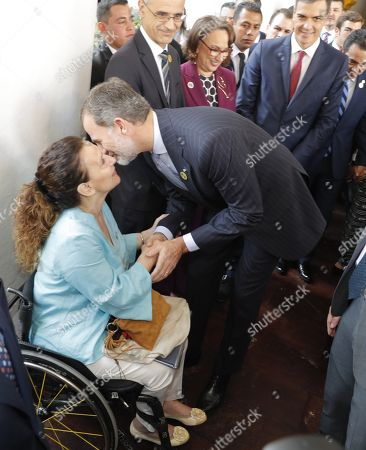 King Felipe VI of Spain (R) greets Argentinian Vice-President Gabriela Michetti during the 26th Ibero American Summit, in Antigua, Guatemala, 15 November 2018. Others are not identified.