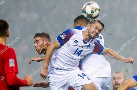Kari Arnason of Iceland in action during the Nations League soccer match, League A, Group 2, between Belgium and Iceland at the King Baudouin stadium in Brussels, Belgium, 15 November 2018.
