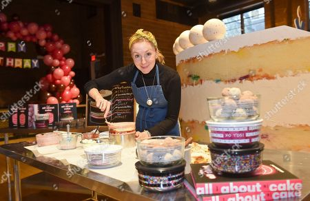 Stock Image of Christina Tosi, founder, chef and owner of Milk Bar, introduces her new collection of Pyrex x Tosi decorated glass storage containers at a baking class event in New York City, Thursday, Nov. 15. 2018