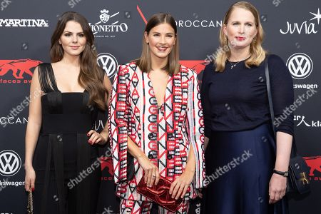 Stock Image of Winner of the Young Style Icon award Ruby O. Fee, winner of the Style Influencer award Nina Schwichtenberg and winner of the Young Fashion Designer award Lilly Ingenhoven arrive for the New Faces Award 2018 ceremony in Berlin, Germany, 15 November 2018. The New Faces Award is a young talent prize that has been presented by the German weekly Bunte since 1998.