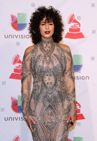 Show presenter Raquel Sofia poses in the press room during the 19th Annual Latin Grammy Awards ceremony at the MGM Grand Garden Arena in Las Vegas, Nevada, USA, 15 November 2018. The Latin Grammy Awards recognize artistic and, or technical achievement, not sales figures or chart positions, and the winners are determined by the votes of their peers-the qualified voting members of the academy.