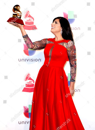 Fernanda Brum with her award for Best Christian Album (Portuguese Language) in the press room during the 19th Annual Latin Grammy Awards ceremony at the MGM Grand Garden Arena in Las Vegas, Nevada, USA, 15 November 2018. The Latin Grammy Awards recognize artistic and/or technical achievement, not sales figures or chart positions, and the winners are determined by the votes of their peers-the qualified voting members of the academy.