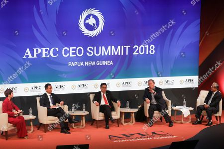 Deputy Director-General of the World Trade Organization Yi Xiaozhun (2-L), Asia Pacific Chairman of PwC Raymund Chao (C), Co-chairman of the Pacific Economic Co-operation Council Donald Campbell (2-R) and Vice Chairman and CEO of The Federation of Korean Industries Tae-Shin Kwon (R) during the APEC CEO Summit 2018 in Port Moresby, Papua New Guinea, 16 November 2018. The 30th Asia-Pacific Economic Cooperation (APEC) summit brings together world leaders from its 21 Pacific Rim member nations and is being hosted for the first time by Papua New Guinea on 17 and 18 November 2018.