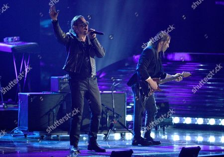 Fher Olvera, Sergio Vallin. Fher Olvera, left, and Sergio Vallin, of Mana, winners of the award for Person of the Year, perform at the Latin Grammy Awards, at the MGM Grand Garden Arena in Las Vegas