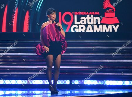 Host Ana de la Reguera speaks at the Latin Grammy Awards, at the MGM Grand Garden Arena in Las Vegas