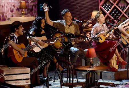 El David Aguilar, from left, Mon Laferte, Jorge Drexler and Natalia Lafourcade perform 'Telefonia'