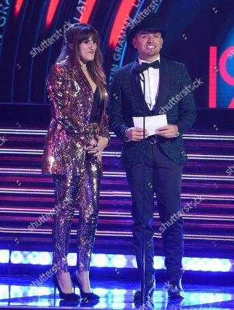 Stock Photo of Rozalen, El Dasa. Rozalen, left, and El Dasa present the award for best norteno album