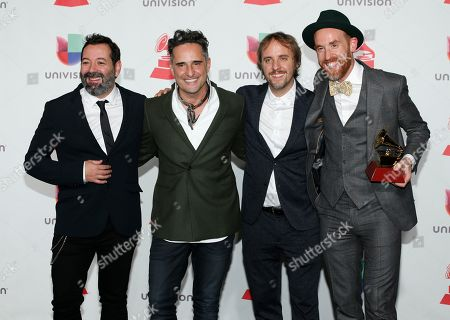 "Carles Campi Campon, Jorge Drexler, Pablo Martin Jones, Jesus Martos. Carles Campi Campon, from left, Jorge Drexler, Pablo Martin Jones and Jesus Martos pose in the press room with the award for record of the year for ""Telefonia"" at the Latin Grammy Awards, at the MGM Grand Garden Arena in Las Vegas"