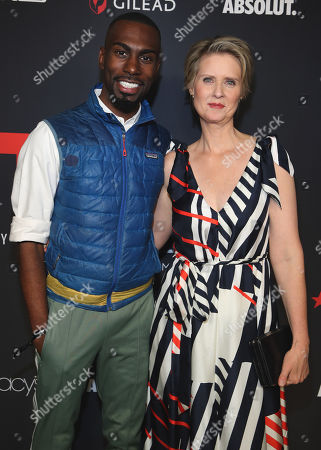 Cynthia Nixon and DeRay Mckesson attend the OUT Magazine's OUT100 Celebration Presented by Lexus, held at Quixote Studios, West Hollywood, California, USA - 15 Nov 2018