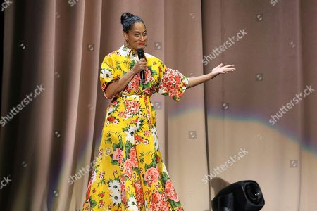 "Tracee Ellis Ross introduces Michelle Obama at the ""Becoming: An Intimate Conversation with Michelle Obama "" event at the Forum, in Inglewood, Calif"