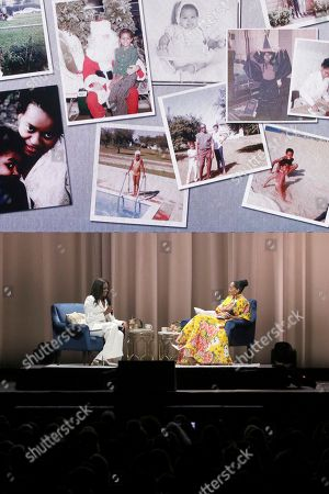 "Michelle Obama, Tracee Ellis Ross. Former first lady Michelle Obama, left, and Tracee Ellis Ross speak at the ""Becoming: An Intimate Conversation with Michelle Obama "" event at the Forum, in Inglewood, Calif"