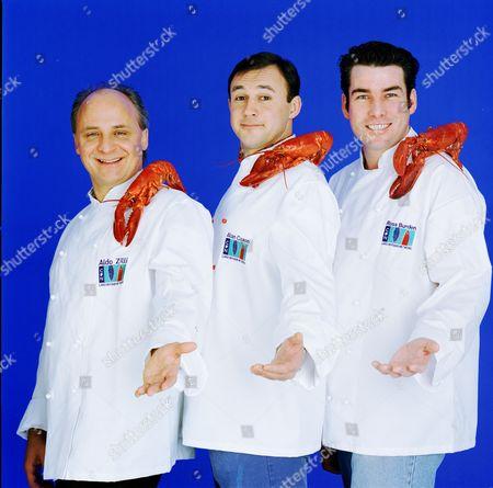 'Carlton Food Network'   TV '3 Chefs in the Cape' Aldo Zilli, Alan Coxon and Ross Burden - Chefs and TV Presenters.