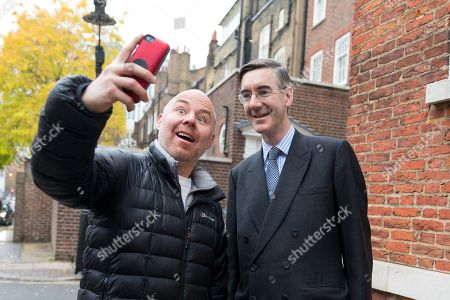 Jacob Rees-Mogg out and about, London