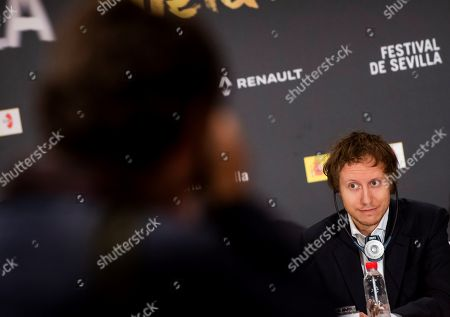 Laszlo Nemes addresses a press conference to present his film 'Sunset' as part of 15th European Film Festival in Seville, southern Spain, 16 November 2018. The film competes in the official section of the festival running from 9 to 17 November 2018.