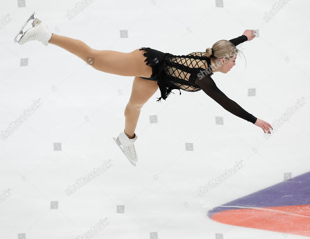 Gracie Gold of the United States performs in the ladies short program during the ISU Grand Prix of Figure Skating Rostelecom Cup in Moscow, Russia
