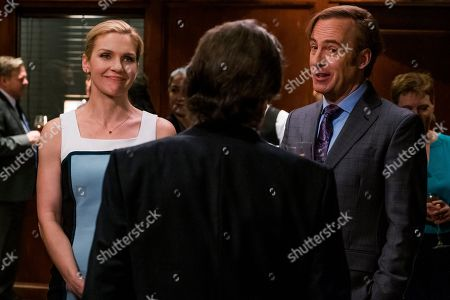 Stock Picture of Rhea Seehorn as Kim Wexler, Dennis Boutsikaris as Rich Schweikart and Bob Odenkirk as Jimmy McGill