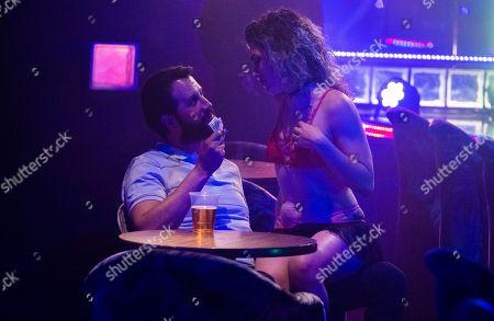 Stefan Kapicic as Casper and Stephanie Lucero as Chatty Stripper