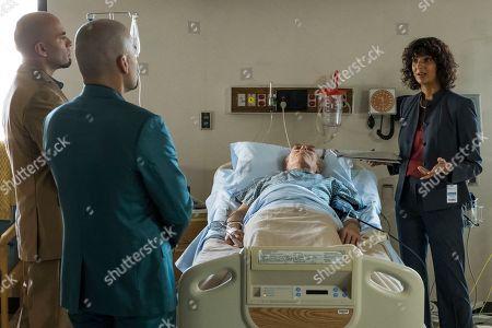 Stock Image of Luis Moncada as Marco Salamanca, Daniel Moncada as Leonel Salamanca, Mark Margolis as Hector Salamanca and Poorna Jagannathan as Dr. Maureen Bruckner
