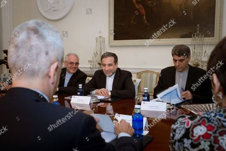 Spanish Secretary of State for Foreign Affairs, Fernando Martin Valenzuela (unseen) and Deputy Minister of Political Affairs of the Ministry of Foreign Affairs of Iran Seyed Abbas Araghchi (C) during their meeting held at Viana Palace in Madrid, Spain, 16 November 2018.