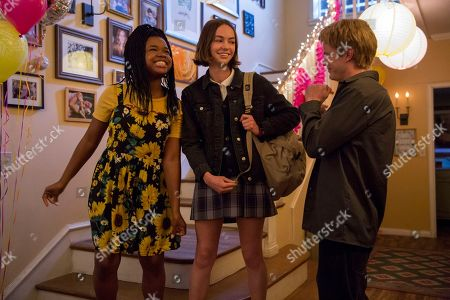 Stock Image of Christina Offley as Sharice, Brigette Lundy-Paine as Casey Gardner and Graham Rogers as Evan Chapin