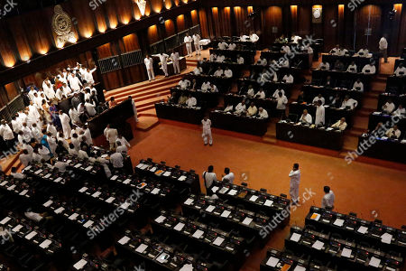 Brawl Sri Lankas parliament Colombo stockfoto's (exclusief