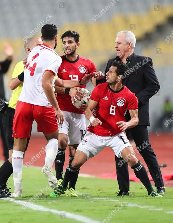 Tunisia's Yassin Meriah (L) argues with Egypt's head coach Javier Aguirre (R) and players Tarek Hamed (2-R) and Ayman Ashraf (2-L) during the Africa Cup of Nations (AFCON) 2019 qualifying soccer match between Egypt and Tunisia in Alexandria, Egypt, 16 November 2018.