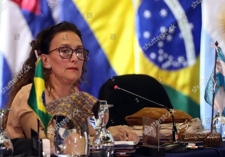 Argentinian Vice President Gabriela Michetti takes part in the plenary session of heads of state of the 26th Ibero American Summit, in Antigua, Guatemala, 16 November 2018.
