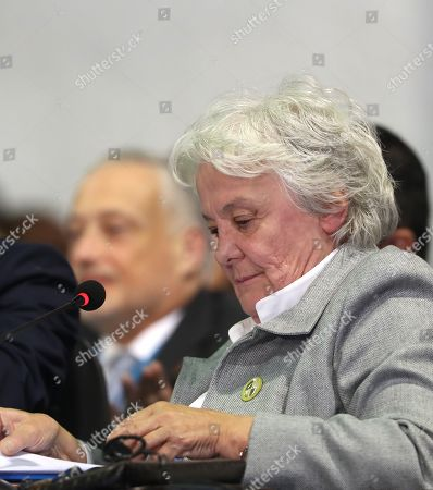 Uruguayan Vice President Lucia Topolansky takes part in the plenary session of heads of state of the 26th Ibero American Summit, in Antigua, Guatemala, 16 November 2018.