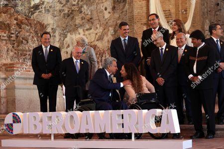 Ecuadoran President Lenin Moreno (L) greets Argentinian Vice President Gabriela Michetti (R) before the plenary session of chiefs of state during the 26th Ibero American Summit, in Antigua, Guatemala, 16 November 2018.