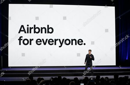 Airbnb co-founder and CEO Brian Chesky speaks during an event in San Francisco. Airbnb says it had its best quarter ever, even as cities across the U.S. have started clamping down on the short-term rental market. The private San Francisco-based company said its revenue for the third quarter easily topped $1 billion as guest reservations boomed internationally in places like Beijing, Mexico City and Birmingham, England