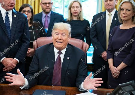 Donald Trump signs the Cybersecurity and Infrastructure Security Act, Washington DC