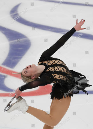 Gracie Gold of US performs the Ladies Short program of the ISU Figure Skating Grand Prix Rostelecom Cup in Moscow, Russia, 16 November 2018.