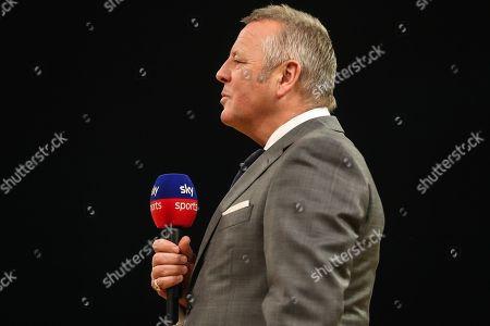MC John McDonald during the 2018 Grand Slam of Darts at Aldersley Leisure Village, Wolverhampton. Picture by Shane Healey