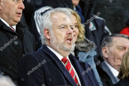 First Minister for Wales, Carwyn Jones sings the national anthem before the UEFA Nations League soccer match between Wales and Denmark in Cardiff, Wales, Britain, 16 November 2018.
