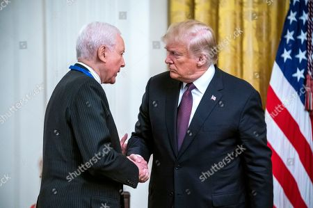 US President Donald Trump (R) awards the Presidential Medal of Freedom to Senator Orrin Hatch (L) in the East Room of the White House in Washington, DC, USA, 16 November 2018. The medal is the nation's highest civilian honor, and awarded at the discretion of the President.