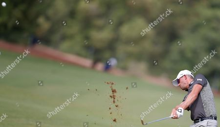 Alexander Bjork of Sweden in action during the third round of DP World Tour Championship European Tour Golf tournament 2018 at Jumeirah Golf Estates in Dubai, United Arab Emirates, 17 November 2018.