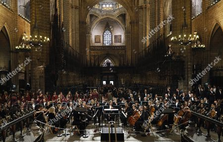 Gran Teatro del Liceo theater's Orchestra and Choir perform during the funeral mass of the Spanish soprano Montserrat Caballe at cathedral in Barcelona, northeastern Spain, 17 November 2018. Caballe died early morning 06 October 2018 at Sant Pau Hospital in Barcelona, where she was admitted last September.