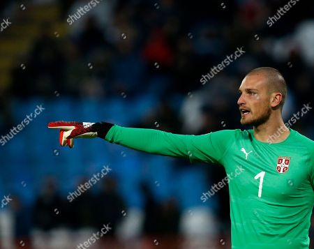 Serbia golalkeeper Predrag Rajkovic gives instructions to his players during the UEFA Nations League soccer match between Serbia and Montenegro at Rajko Mitic stadium in Belgrade, Serbia
