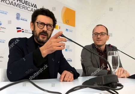 Manolo Solo (L) attends a press conference with Festival Director Manuel H. Martin (R) prior to receiving the 'Luz' award at the Ibero-American Film Festival in Huelva, southern Spain, 17 November 2018. The festival runs 16 to 23 November.