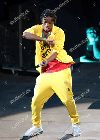 Stock Picture of Roy Woods, Denzel Spencer. Roy Woods performs during the Aubrey & the Three Migos Tour at State Farm Arena, in Atlanta