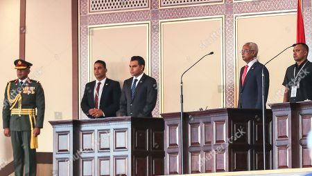 New Maldivian President Ibrahim Mohamed Solih (2-R) during his swearing-in ceremony in Male, Maldives, 17 November 2018. A veteran politician, Ibrahim Mohamed Solih took office on the day as president after successfully ousting former pro-China president Abdulla Yameen.