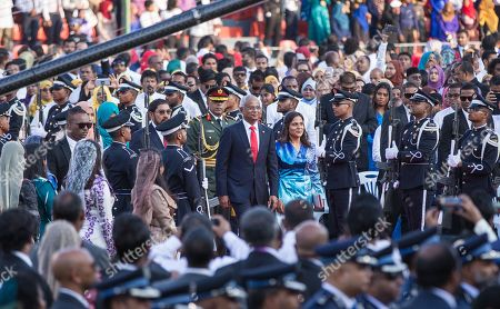 New Maldivian President Ibrahim Mohamed Solih (C) arrives with his wife Fazna Ahmed to attend his swearing-in ceremony in Male, Maldives, 17 November 2018. A veteran politician, Ibrahim Mohamed Solih took office on the day as president after successfully ousting former pro-China president Abdulla Yameen.