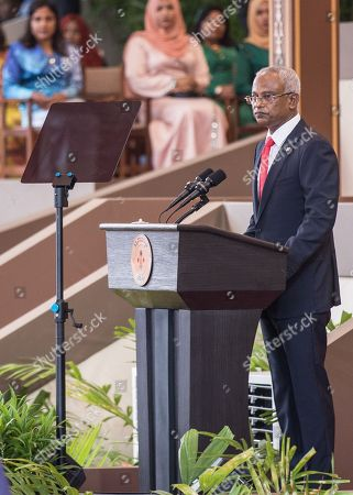 Ibrahim Mohamed Solih speaks after being sworn in as the country's new President in Male, Maldives, 17 November 2018. A veteran politician, Ibrahim Mohamed Solih took office on the day as president after successfully ousting former pro-China president Abdulla Yameen.