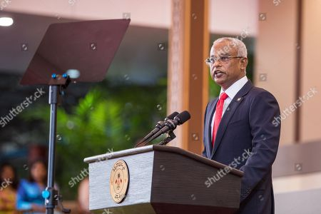 Stock Photo of Ibrahim Mohamed Solih speaks after being sworn in as the country's new President in Male, Maldives, 17 November 2018. A veteran politician, Ibrahim Mohamed Solih took office on the day as president after successfully ousting former pro-China president Abdulla Yameen.