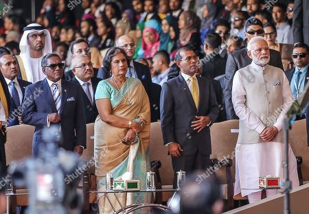 Indian Prime Minister Narendra Modi (R), former Maldivian president Mohamed Nasheed (2-R) and former Sri Lankan president Chandrika Kumaratunga (2-L) attend the swearing-in ceremony of new Maldivian President Ibrahim Mohamed Solih in Male, Maldives, 17 November 2018. A veteran politician, Ibrahim Mohamed Solih took office on the day as president after successfully ousting former pro-China president Abdulla Yameen.