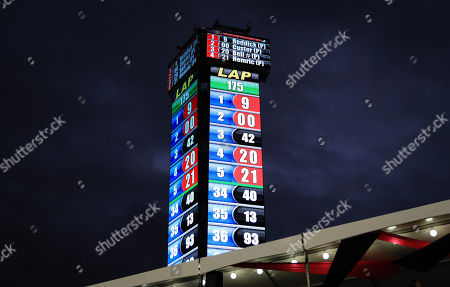 The NASCAR display tower shows Tyler Reddick, driver of the (9) BurgerFi Chevrolet in first place, after 175 laps, during the NASCAR XFINITY Series Ford EcoBoost 300 Championship at the Homestead-Miami Speedway in Homestead, Fla