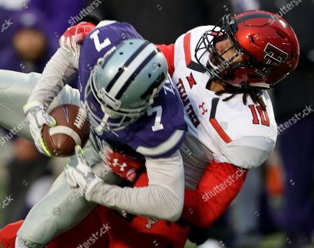 Stock Image of Isaiah Zuber, John Bonney. Texas Tech defensive back John Bonney (10) tackles Kansas State wide receiver Isaiah Zuber (7) during the second half of an NCAA college football game in Manhattan, Kan
