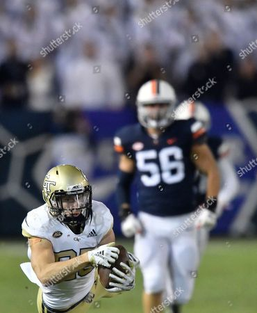 Georgia Tech wide receiver Brad Stewart (83) makes a long catch against Virginia during the second half of an NCAA football game, in Atlanta